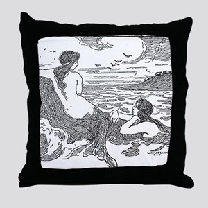 Latimer J Wilson Mermaids Throw Pillow