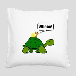 Snail Turtle Ride Square Canvas Pillow