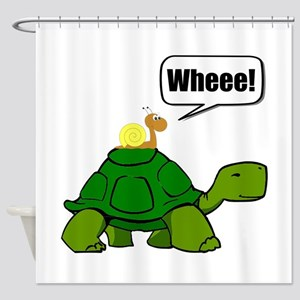 Snail Turtle Ride Shower Curtain