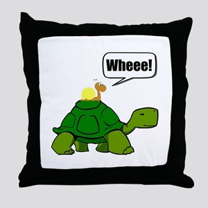 Snail Turtle Ride Throw Pillow