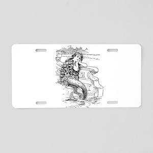 Vintage Mermaid Aluminum License Plate