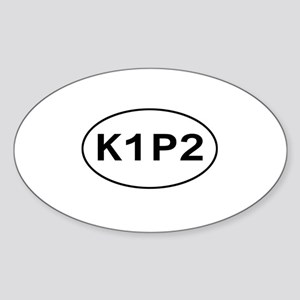 K1P2 - Knit One Purl Two Oval Sticker