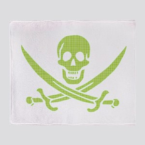 Green Crosshatch Calico Jack Skull Throw Blanket