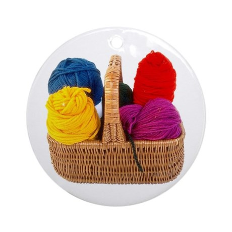 Yarn Basket - Colorful Yarn Ornament (Round)