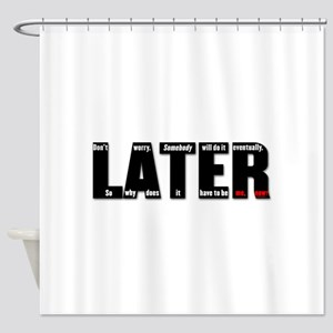 LATER Black Red Shower Curtain