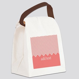 Coral Chevrons Custom Text Canvas Lunch Bag