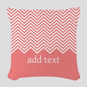 Coral Chevrons Custom Text Woven Throw Pillow