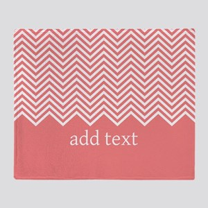 Coral Chevrons Custom Text Throw Blanket