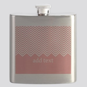 Coral Chevrons Custom Text Flask