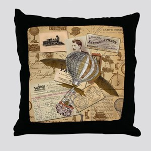 Collage with winged balloon Throw Pillow