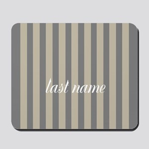 Gray Linen Stripes Monogram Mousepad