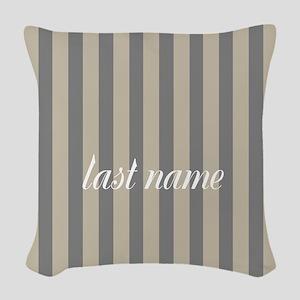 Gray Linen Stripes Monogram Woven Throw Pillow