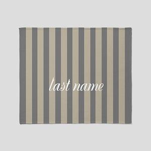 Gray Linen Stripes Monogram Throw Blanket