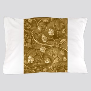 Tan Undulating Leaves Fall Pillow Case