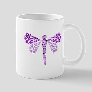 Cute Purple Pointillism Dragonfly Mug