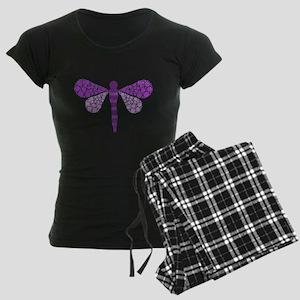 Cute Purple Pointillism Dragonfly Women's Dark Paj