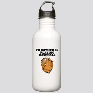 Id Rather Be Playing Baseball Water Bottle
