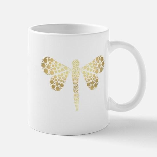 Cute Gold Pointillism Dragonfly Mug