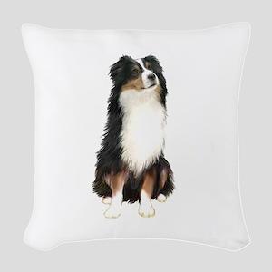 Australian Shep (tri) #2 Woven Throw Pillow