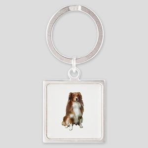 Australian Shep (tri) #2 Square Keychain