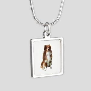 Australian Shep (tri) #2 Silver Square Necklace
