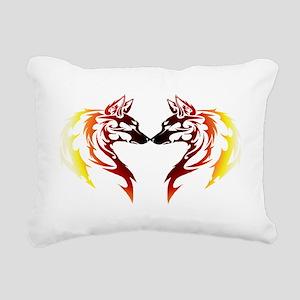 Fire Wolves Rectangular Canvas Pillow