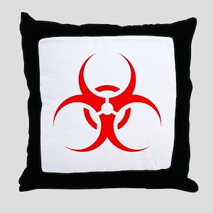 Red Biohazard Symbol Throw Pillow