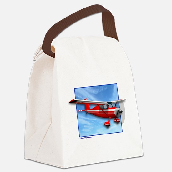 Single Engine Red Airplane Canvas Lunch Bag