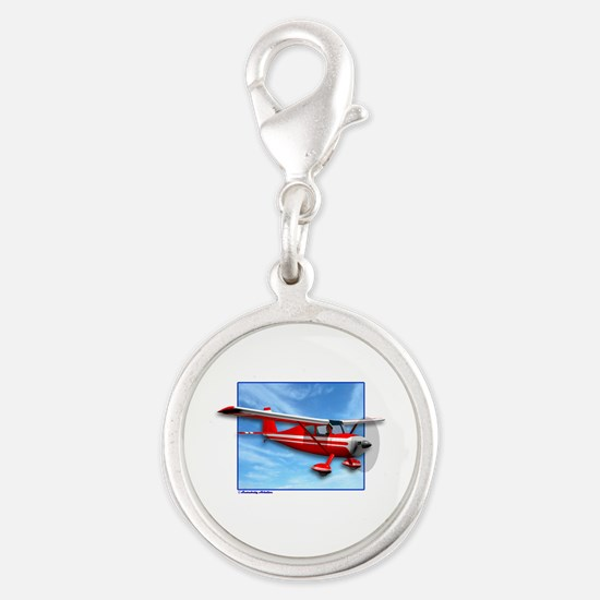 Single Engine Red Airplane Silver Round Charm
