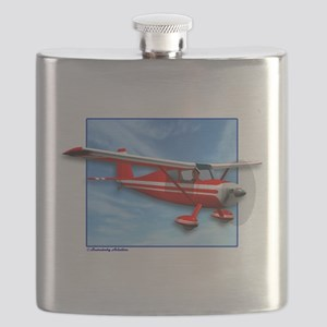 Single Engine Red Airplane Flask