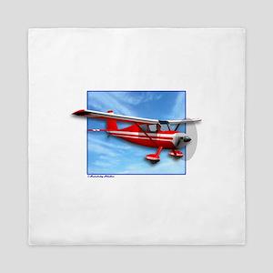 Single Engine Red Airplane Queen Duvet