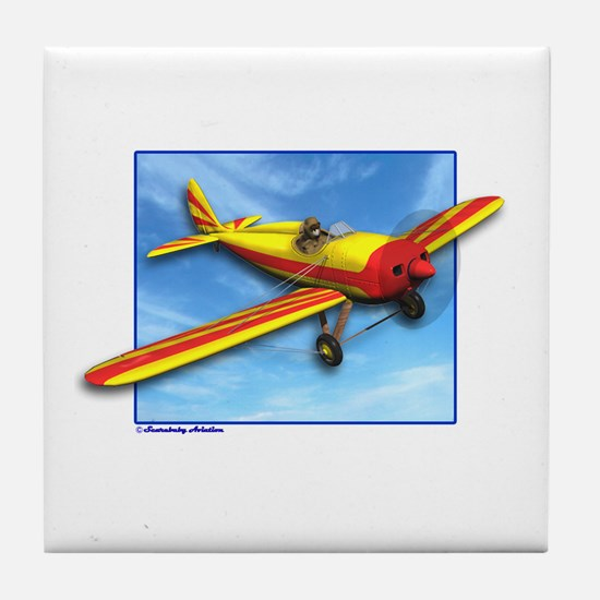 Red and Yellow Small Plane Tile Coaster