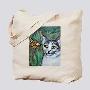 Tabby Cat eyes Monarch Butterfly Tote Bag