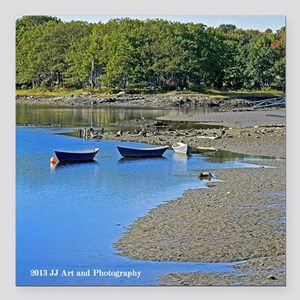 """Kennebunkport Boats Square Magnet 3"""" x 3&quot"""