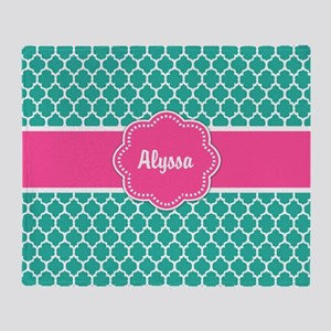 Teal Pink Quaterfoil Personalized Throw Blanket