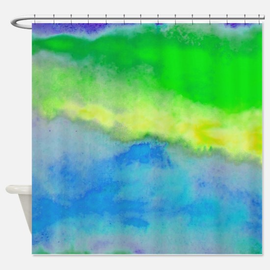 Blue Green watercolor Shower Curtain