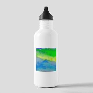 Blue Green watercolor Sports Water Bottle