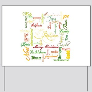 christmas words collage Yard Sign