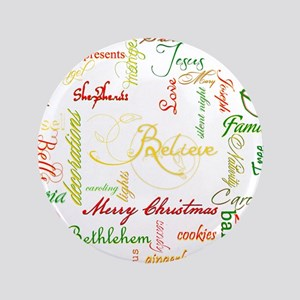 """christmas words collage 3.5"""" Button"""