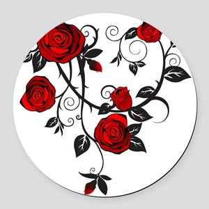 Red Rose Round Car Magnet