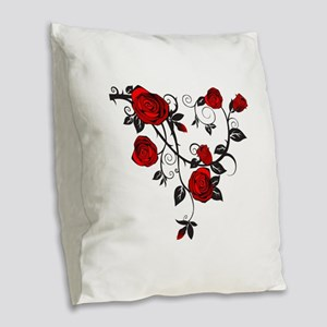 Red Rose Burlap Throw Pillow