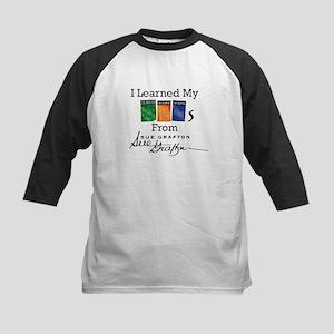 I Learned My ABCs - Sue Grafton Kids Baseball Tee