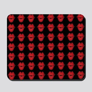 Red Lips On Black Background Mousepad