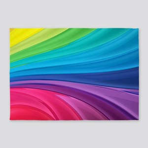 Rainbow Wave Swirls 5'x7'Area Rug