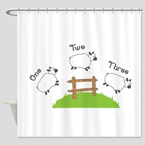 One Two Three Shower Curtain