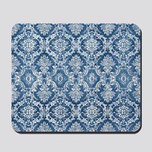 Sapphire Grunge Damask DESIGN Mousepad