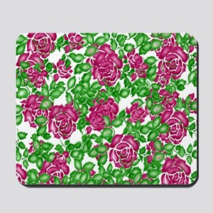 Old Fashioned Stencil Roses Mousepad