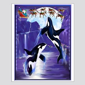 Orca Christmas Oval Posters