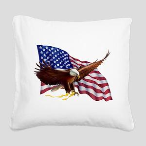 American Patriotism Square Canvas Pillow