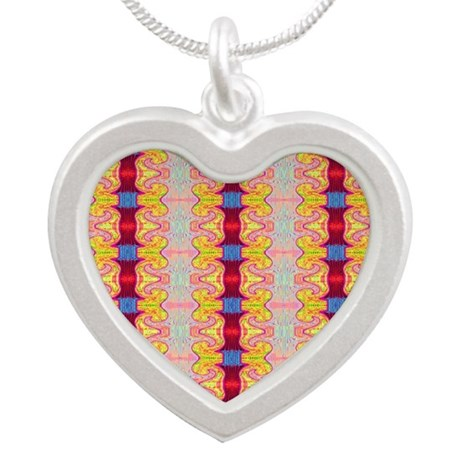 Pretty Yellow Red Ribbon Pat Silver Heart Necklace